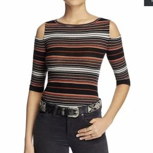We The Free Black Cut Out Textured Striped Top